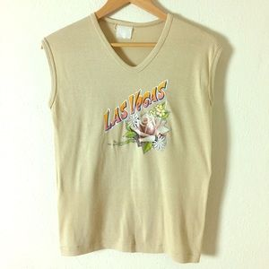 Tops - Vintage 1970s-80s Tan Las Vegas Muscle T-shirt